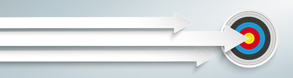 3 Arrows Target Header. White arrows with target on the grey background Royalty Free Stock Photos