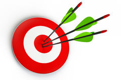Arrows and target. Isolated on white background, 3D illustration Royalty Free Stock Photo