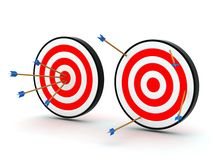 Arrows on target off target Stock Image