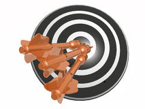 Arrows on the target. Orange arrows on the target, white background, 3D illustration Stock Photo