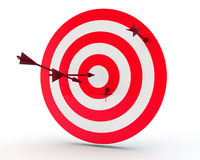 Arrows and target. Arrows randomly stick out in the purpose Royalty Free Stock Images