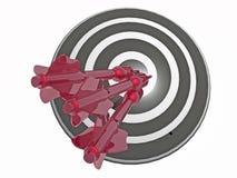 Arrows on the target. Red arrows on the target, white background, 3D illustration Royalty Free Stock Photos