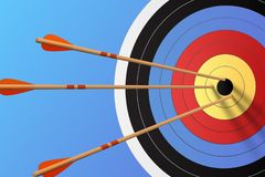 Arrows in the target, vector illustration. Abstract background stock illustration