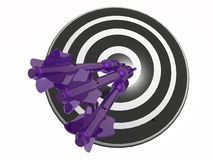 Arrows on the target. Violet arrows on the target, white background, 3D illustration Stock Photo