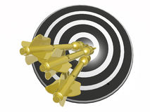 Arrows on the target. Yellow arrows on the target, white background, 3D illustration Stock Photos