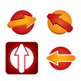 Arrows template - abstract icon set. Arrows template - color abstract icon set with white background Stock Images