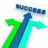Arrows in three directions with success. 3d arrows in three directions with space Stock Image