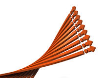 9 arrows to rise in the twist position. 3D illustration Stock Photo
