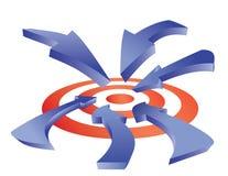 Arrows to target Stock Photos