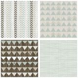 Arrows triangles chevron scrapbook backgrounds. Blue beige brown white arrows triangles chevron winter colors geometric seamless pattern set of scrapbook stock illustration