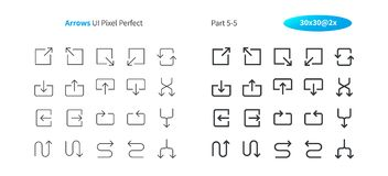Arrows UI Pixel Perfect Well-crafted Vector Thin Line And Solid Icons 30 2x Grid for Web Graphics and Apps. Simple Minimal Pictogram Part 5-5 Royalty Free Stock Photos
