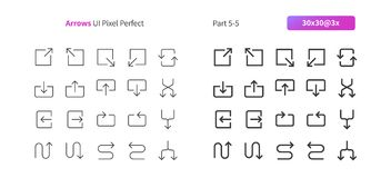 Arrows UI Pixel Perfect Well-crafted Vector Thin Line And Solid Icons 30 3x Grid for Web Graphics and Apps. Simple Minimal Pictogram Part 5-5 Stock Image