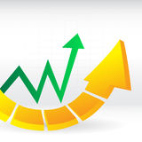 Arrows up in the graph Stock Photography