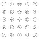 Arrows variety outline icons set. Linear style symbols collection, line signs pack. vector graphics. Set includes icons as reload, left and straight, close the Royalty Free Stock Photos