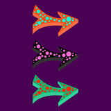 Arrows vector pattern design colorful vibrant vintage retro background Stock Images