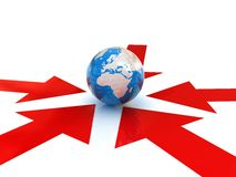 Arrows way and earth Stock Photography