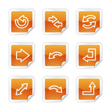 Arrows web icons. Vector web icons, orange glossy sticker series, V2 Stock Photo