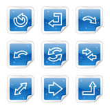 Arrows web icons, blue glossy sticker series. Vector web icons, blue glossy sticker series stock illustration