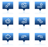 Arrows web icons, blue speech bubbles series Stock Photos