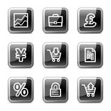 Arrows web icons, glossy buttons series. Vector web icons, black square glossy buttons series Stock Images