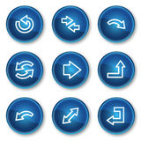 Arrows web icons set 1, blue circle buttons Royalty Free Stock Image