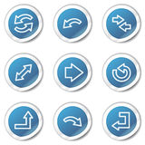 Arrows web icons set 1, blue sticker series Royalty Free Stock Images