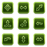 Arrows web icons set 1, green square buttons Stock Photo