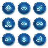 Arrows web icons set 2, blue circle buttons. Vector web icons set. Easy to edit, scale and colorize vector illustration
