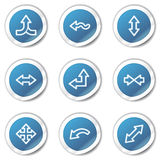 Arrows web icons set 2, blue sticker series Stock Photography