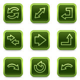 Arrows web icons set 2, green square buttons Stock Images