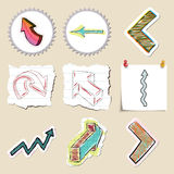 Arrows web icons set. Hand drawn and isolated Royalty Free Stock Photos
