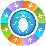 Arrows with Wheel - Bug Royalty Free Stock Photo