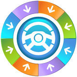 Arrows with Wheel - Steering Wheel royalty free illustration