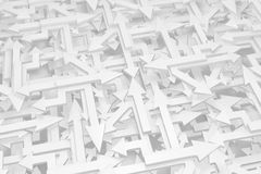Arrows White Mix. Arrows white chaotic mix, 3d illustration, horizontal Royalty Free Stock Photography