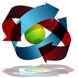 Arrows Wrapping Around Sphere. An image of 3d arrows wrapping around a sphere Royalty Free Stock Images
