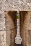 Arrowslit or loophole in wall of Tower of David Citadel, Jerusalem. Israel stock image