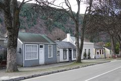 Historical houses in Arrowtown, New Zealand. Arrowtown is a historic village on the South island of New Zealand set up during the Otago Gold Rush of the 1860s stock photo