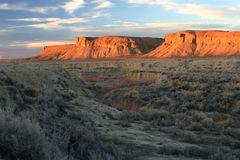 Arroyo And Buttes Sunset Stock Image
