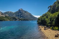 Arroyo La Angostura Beach at Circuito Chico - Bariloche, Patagonia, Argentina stock photography