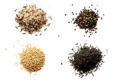 Arroz, alforfón, té y pimienta Fotografía de archivo libre de regalías