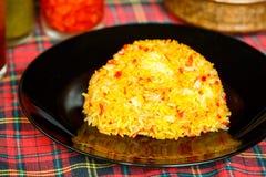 Arroz amarelo com açafrão Culinária indiana Imagem de Stock Royalty Free