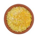 Arroz amarelo do açafrão em uma opinião superior da bacia Imagem de Stock