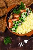 Arroz amarillo con las verduras Foto de archivo