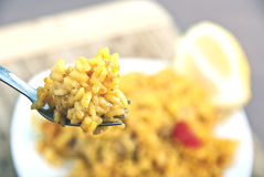 Arroz amarillo (paella) Foto de archivo libre de regalías