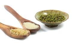 Arroz, arroz moído e feijões verdes Imagem de Stock Royalty Free