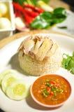 Arroz asiático del pollo de hainan del estilo con la salsa Foto de archivo libre de regalías