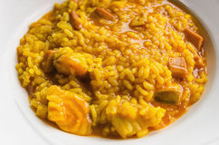 Arroz a banda. Plate of arroz a banda, typical spanish dish in mediterranean zone made with rice and fish Royalty Free Stock Images