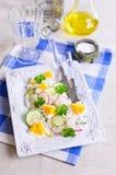 Arroz blanco con el rábano, el pepino y los huevos Fotos de archivo