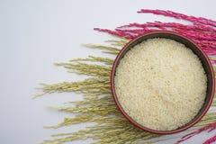 Arroz blanco y arroz en un fondo blanco fotografía de archivo