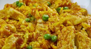 Arroz chaufa de pollo. Fried rice mixed with chicken Stock Photos